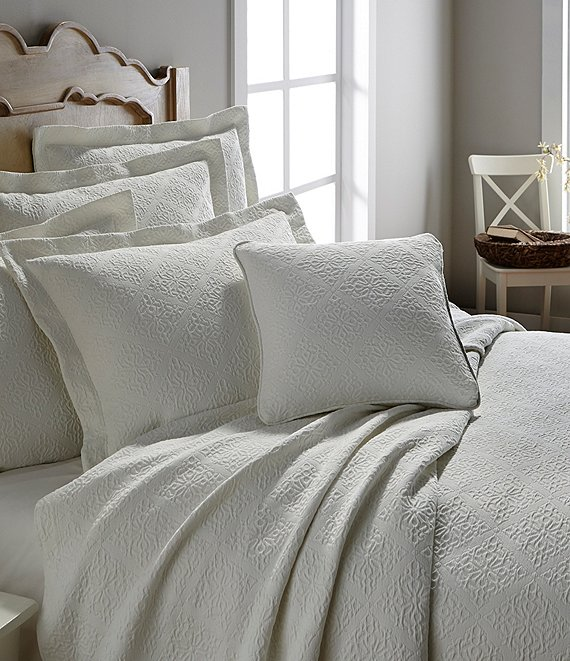 Color:Cream - Image 1 - Emery Tile Jacquard Matelasse Coverlet