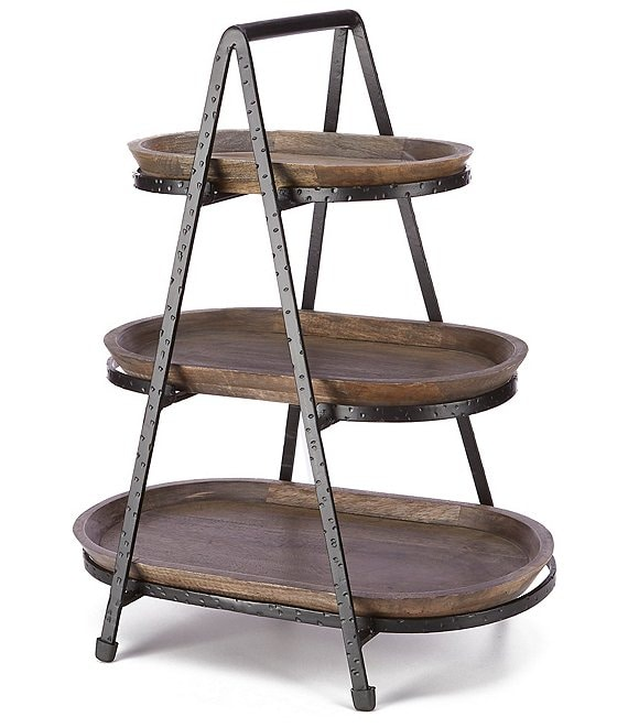 Southern Living Forged 3 Tiered Oval Stand with Wood Trays