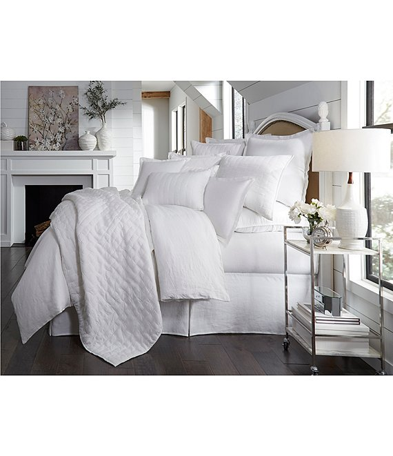 Color:White - Image 1 - Heirloom Linen Quilt