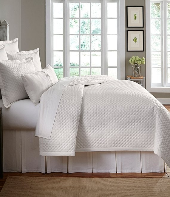 Color:Cream - Image 1 - Heirloom Quilted Cotton Pique Coverlet