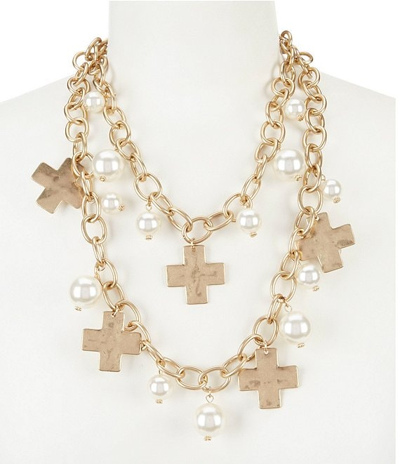 b7f91ac8058f7 Southern Living Karen Cross Charm Multi-Strand Pearl Statement Necklace