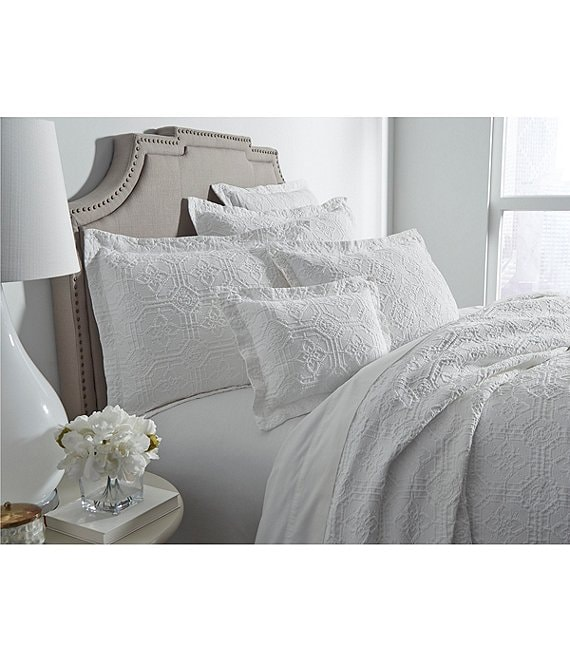 Color:White - Image 1 - Lancaster Tiled Matelasse Coverlet