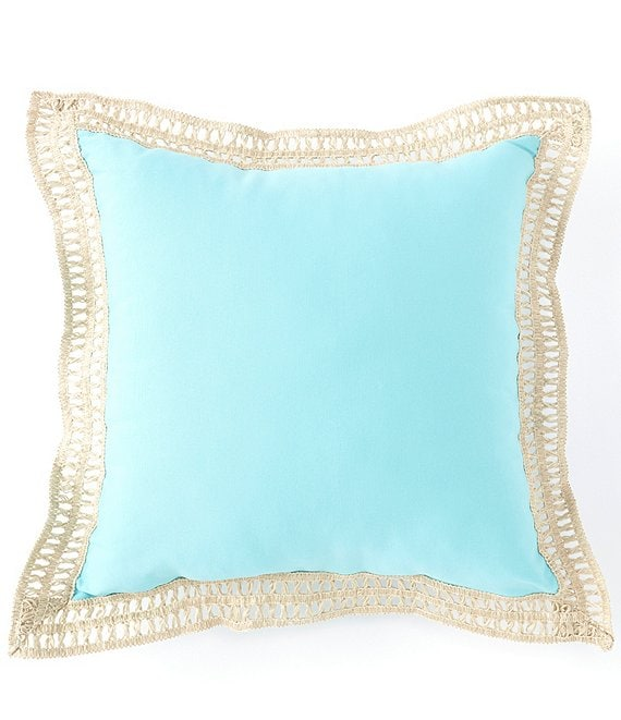 Color:Aqua - Image 1 - Outdoor Living Collection Jute Trimmed Indoor/Outdoor Pillow