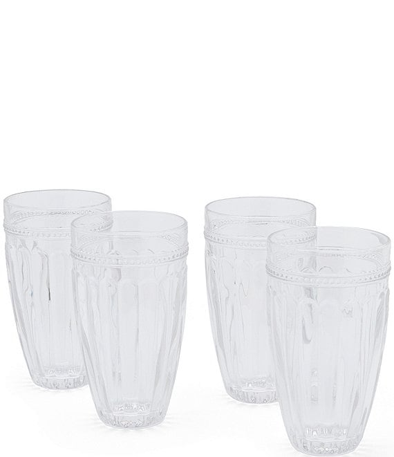 Color:Clear - Image 1 - Ribbed Highball Glasses Set of 4