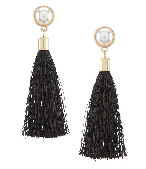 Color:Black - Image 1 - Walton Pearl Tassel Earrings