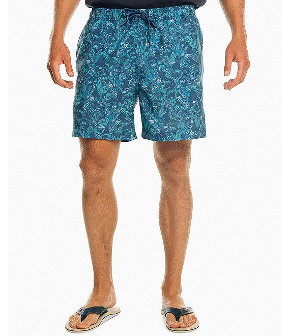 Color:Seven Seas Blue - Image 1 - Banana Leaf 6#double; Inseam Packable Swim Trunks