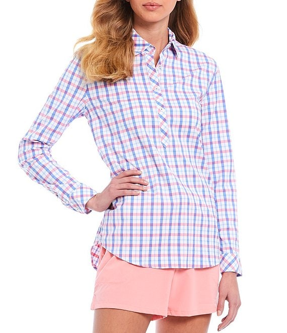 Color:Island Pink - Image 1 - Hadley Intercoastal Performance Long Sleeve Button Front Popover Top