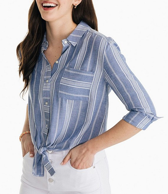 Color:Light Indigo - Image 1 - Madelyn Stripe Print Button-Front Tie-Front Hem Long Sleeve Top
