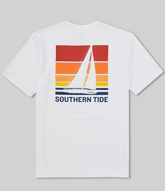 Color:Classic White - Image 1 - Sailing Sunset Gradient Heather Short-Sleeve Tee