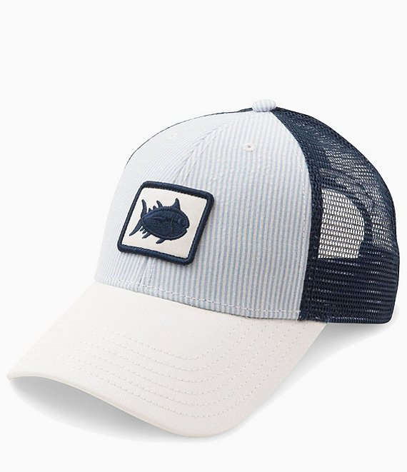 Southern Tide Skipjack Patch Seersucker Stripe Trucker Cap