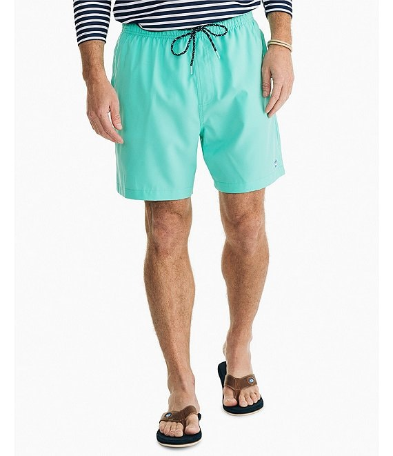 Color:Cockatoo - Image 1 - Solid 6#double; Inseam Swim Trunks