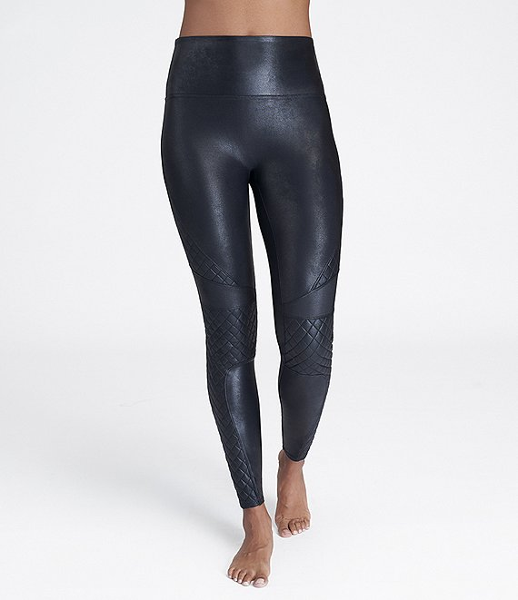 Color:Very Black - Image 1 - Faux Leather Quilted Leggings