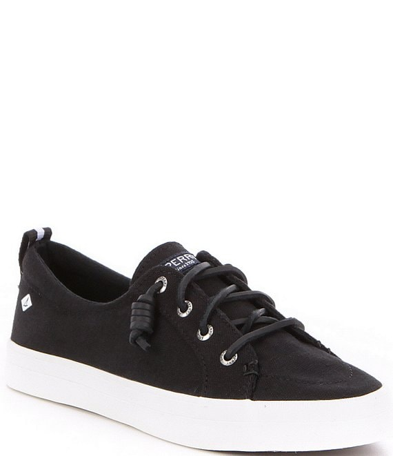 Color:Black - Image 1 - Crest Vibe Canvas Lace-Up Sneakers