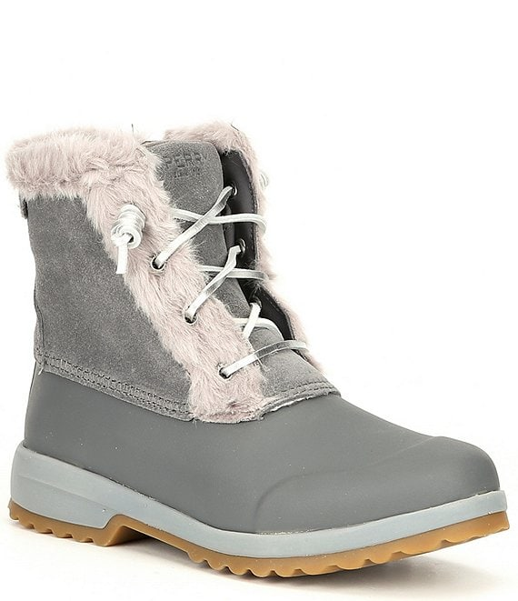 Color:Grey - Image 1 - Maritime Repel Water Resistant Suede Winter Boots