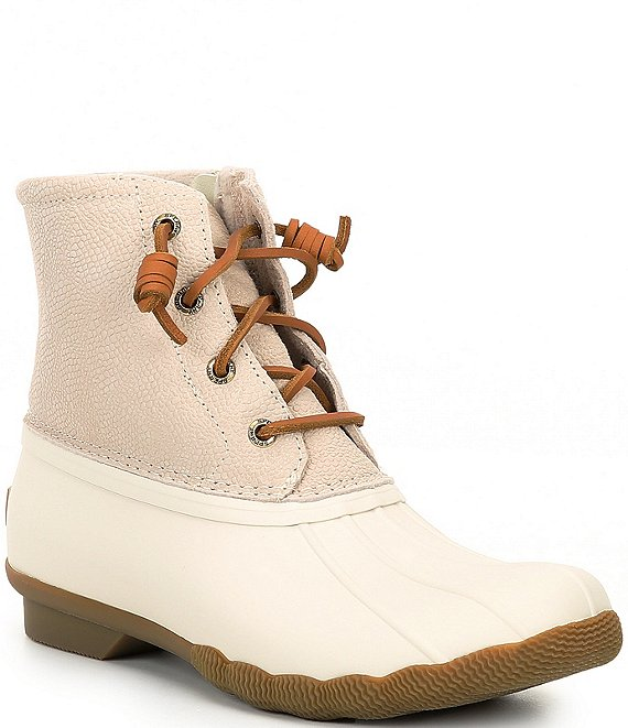 Color:Ivory - Image 1 - Saltwater Serpent Leather Rain Booties