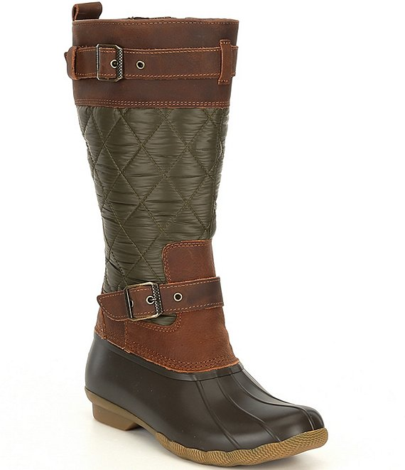 Color:Olive/Brown - Image 1 - Women's Saltwater Buckle Nylon Quilted Boots