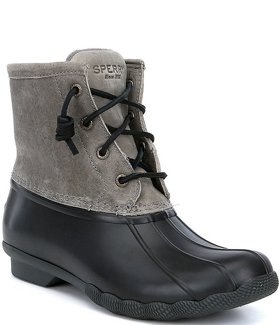 Color:Black/Grey - Image 1 - Women's Saltwater Waterproof Winter Duck Rain Boots