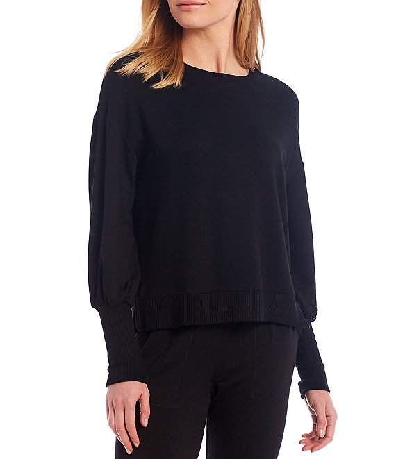 Color:Black - Image 1 - Flora Knit Crew Neck Long Sleeve Pullover