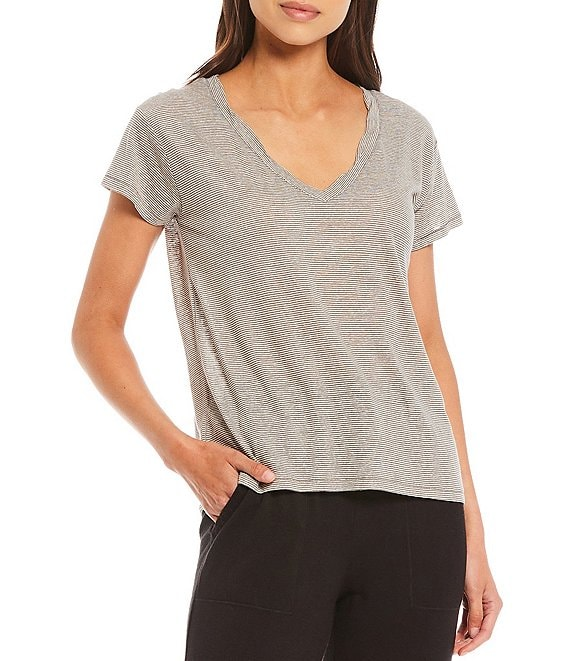 Color:Very Olive Brown/White - Image 1 - Knit Ciara U-Neck Tee