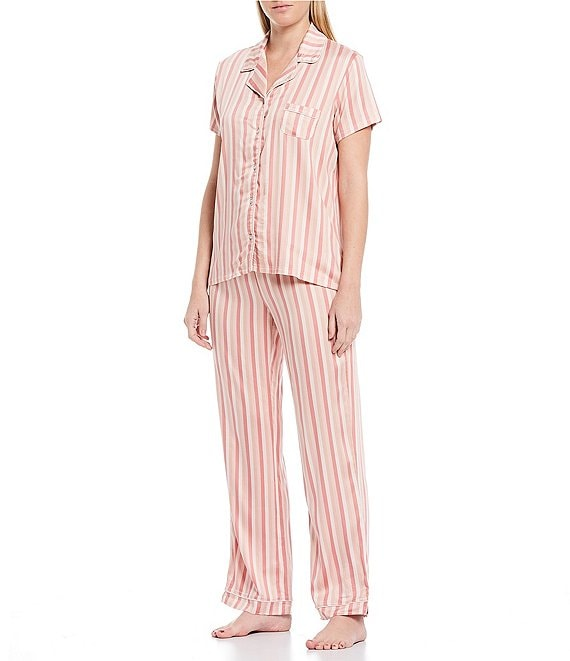 Color:Mauve Chalk Stripe - Image 1 - Striped-Print Woven Pajama Set
