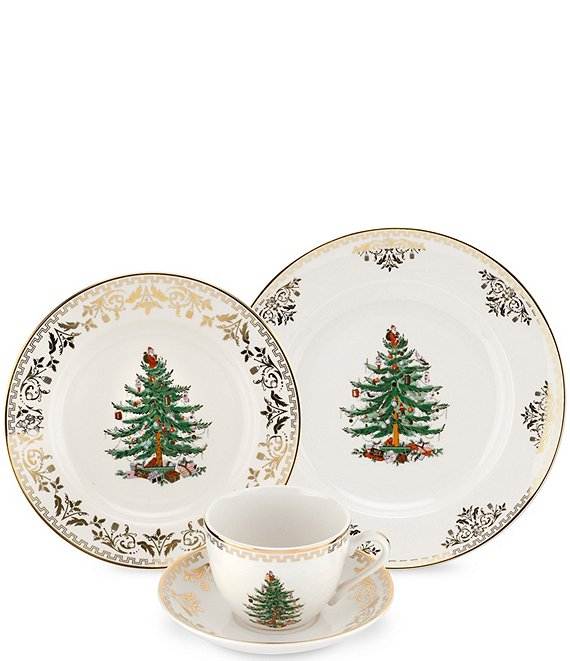Spode Christmas Tree China Sale: Spode Christmas Tree Gold Collection 4-Piece Place Setting