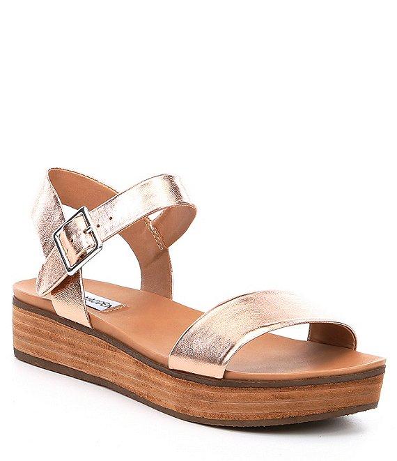 83f5772211b2 Steve Madden Aida Leather Wood Flatform Sandals