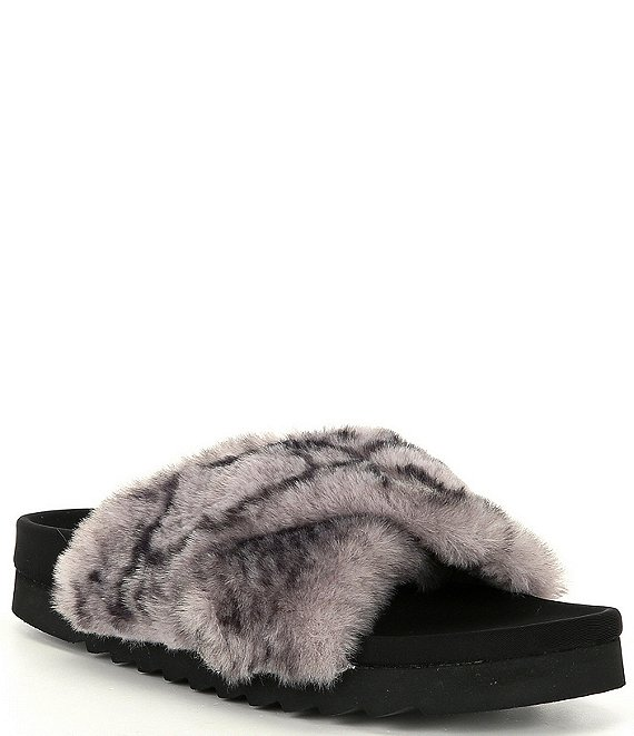 Color:Snake - Image 1 - Amari Criss-Cross Faux Fur Snake Print Platform Slippers