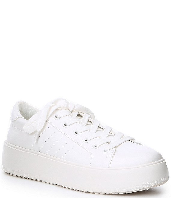 Color:White - Image 1 - Blade Platform Lace-Up Sneakers