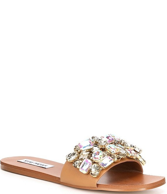 Color:Rhinestone - Image 1 - Brionna Jeweled Sandals