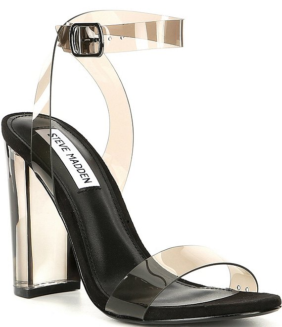 Color:Smoke - Image 1 - Camille Lucite Clear Block Heel Dress Sandals