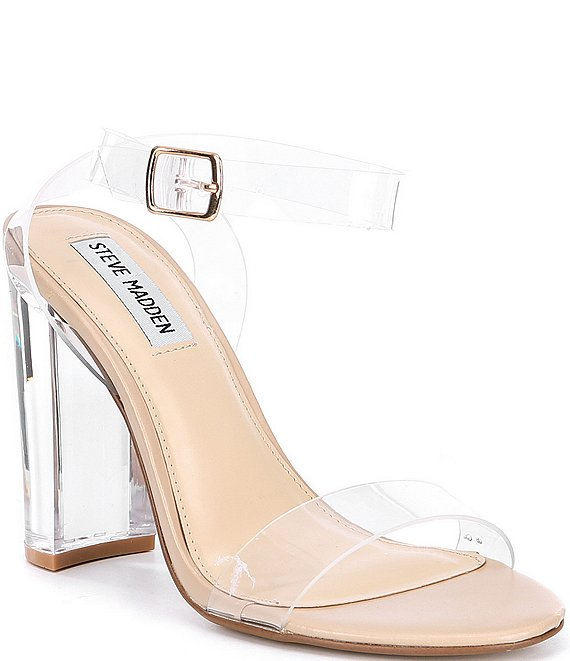 941feeb824a Steve Madden Camille Lucite Clear Block Heel Dress Sandals