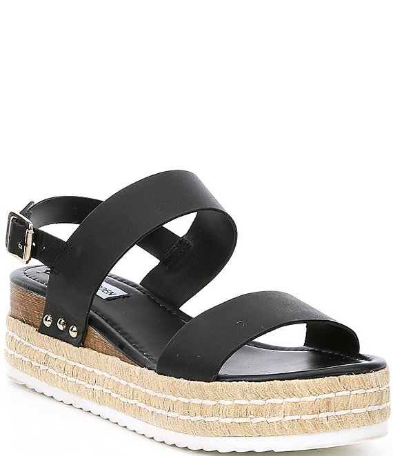Color:Black Leather - Image 1 - Catia Espadrille Flatform Sandals