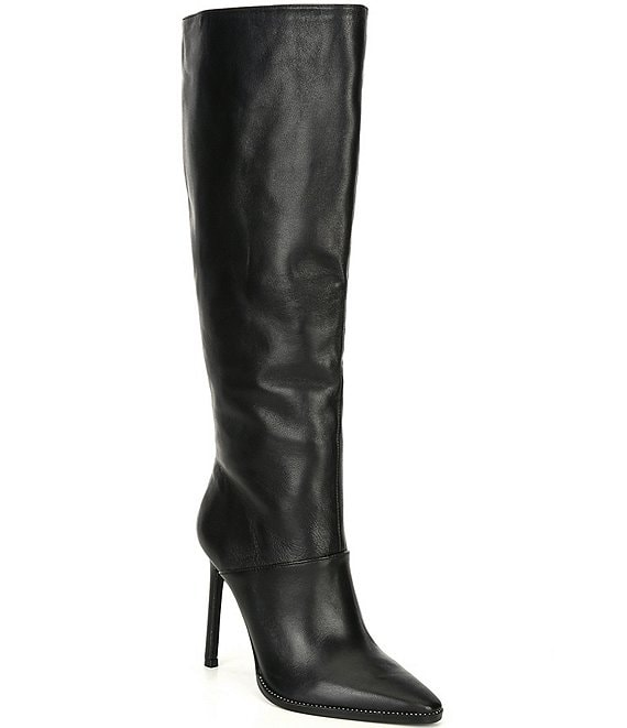 Color:Black - Image 1 - Olga Leather Tall Stiletto Boots