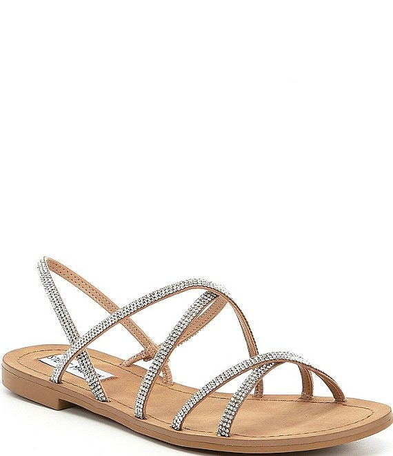 Color:Natural/Multi - Image 1 - Rita Rhinestone Embellished Strappy Sandals