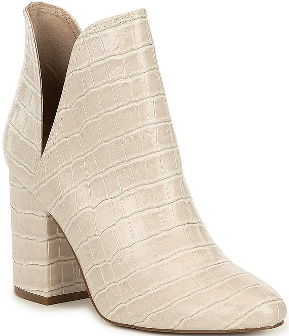 Color:Bone Croco - Image 1 - Rookie Croc-Embossed Leather Booties