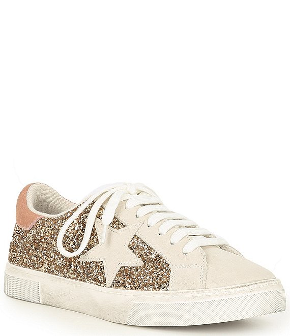 Color:Gold Multi - Image 1 - Rubie Suede Glitter Star Distressed Sole Lace-Up Sneakers