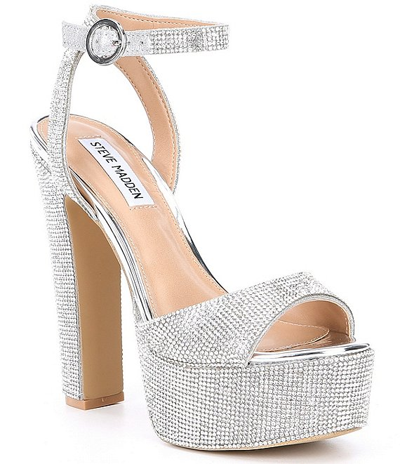 Color:Rhinestone - Image 1 - Skyla Rhinestone Embellished Platform Dress Sandals