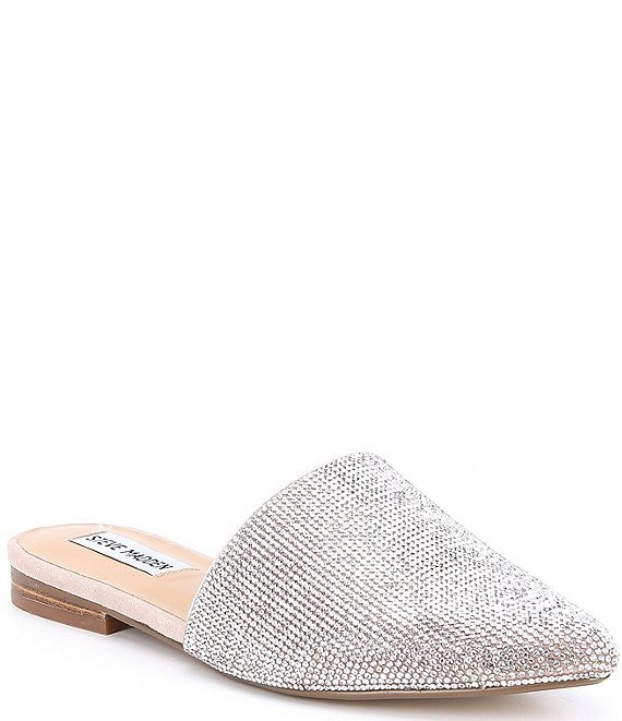 Color:Rhinestone - Image 1 - Trace Rhinestone Embellished Jeweled Slip-On Mules