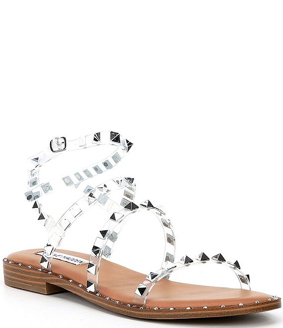 Color:Clear - Image 1 - Travel Clear Studded Sandals