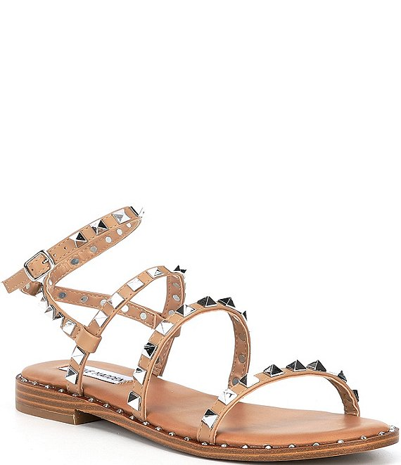 Color:Tan - Image 1 - Travel Studded Sandals