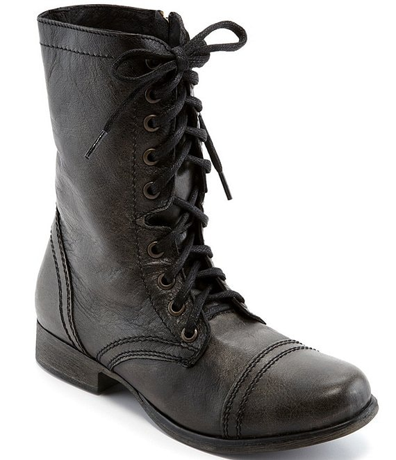 a4f663f4aa8 Steve Madden Troopa Military-Inspired Zipper Lace Up Leather Combat Boots