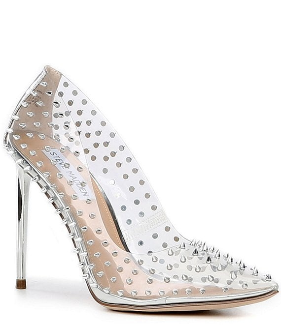 Color:Clear - Image 1 - Vala Clear Studded Metallic Stiletto Heel Pumps
