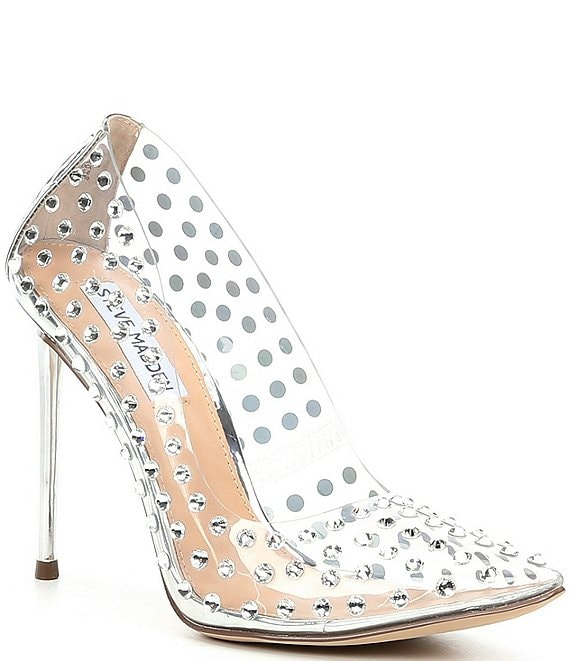 Color:Clear - Image 1 - Valiant-S Rhinestone Studded Pumps