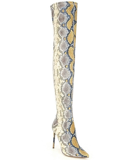 Color:Multi Snake - Image 1 - Viktory Snake Print Over-the-Knee Boots