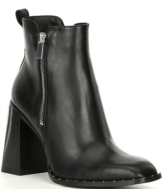 Color:Black - Image 1 - Whisper Stud Trim Leather Side Zip Block Heel Western Booties