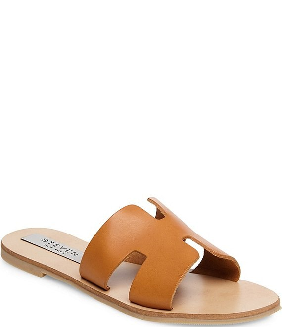 Color:Cognac Leather - Image 1 - Steven by Steve Madden Greece Leather Sandals