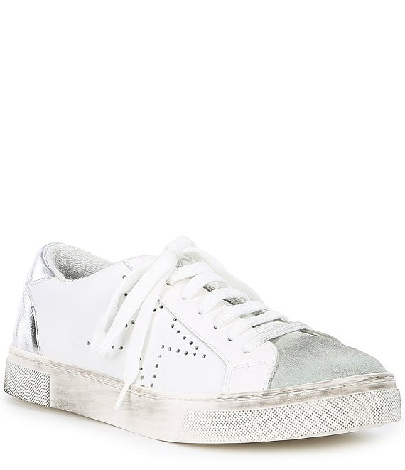 Color:White - Image 1 - Steven by Steve Madden Rezza Leather and Suede Star Lace Up Sneakers
