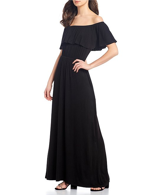 Color:Black - Image 1 - Off-The-Shoulder Maxi Dress