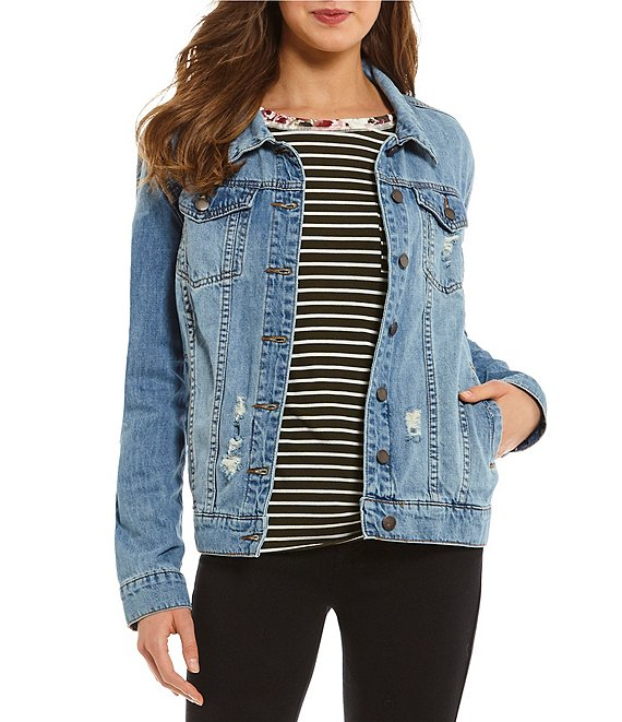 Color:North Barker - Image 1 - Oversized Boyfriend Denim Jacket
