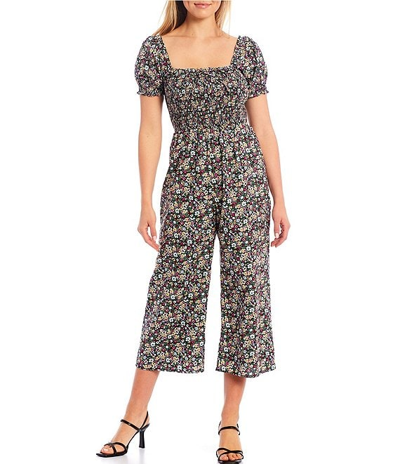 Color:Black/Multi - Image 1 - Floral Smocked Bodice Short Sleeve Jumpsuit